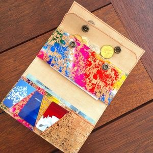 Handmade cork minimalist wallet - vegan